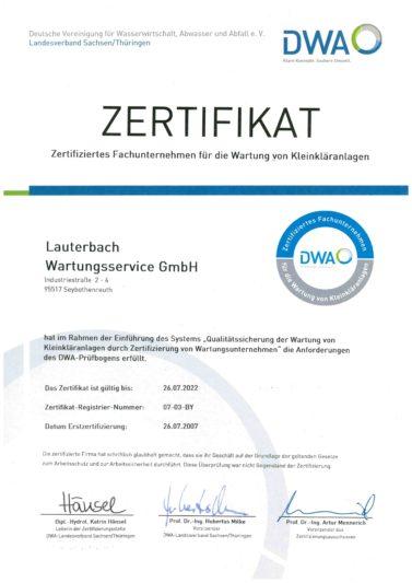 DWA Zertifizierung